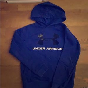 Boys under armour size M blue and black hoodie .